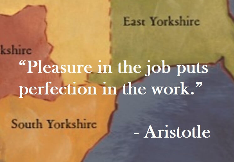 Aristotle Quote on Hoist Point - Pleasure in the job puts perfection in the work.