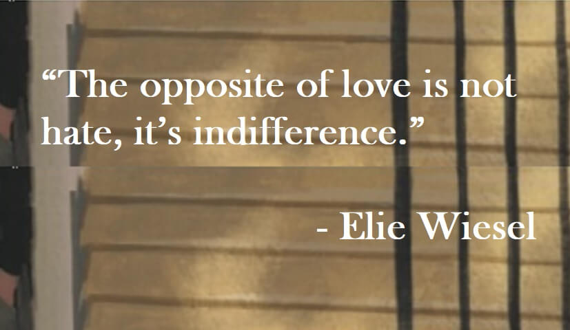 Elie Wiesel Quote on Hoist Point - The opposite of love is not hate, it's indifference
